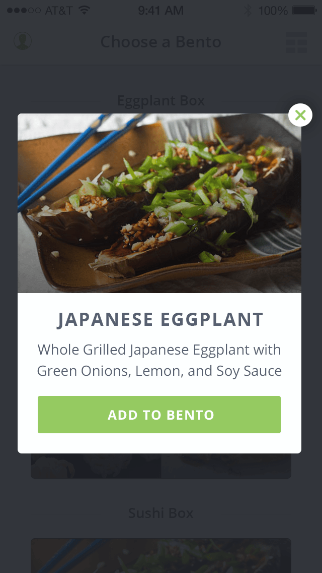 Bento select expanded detail
