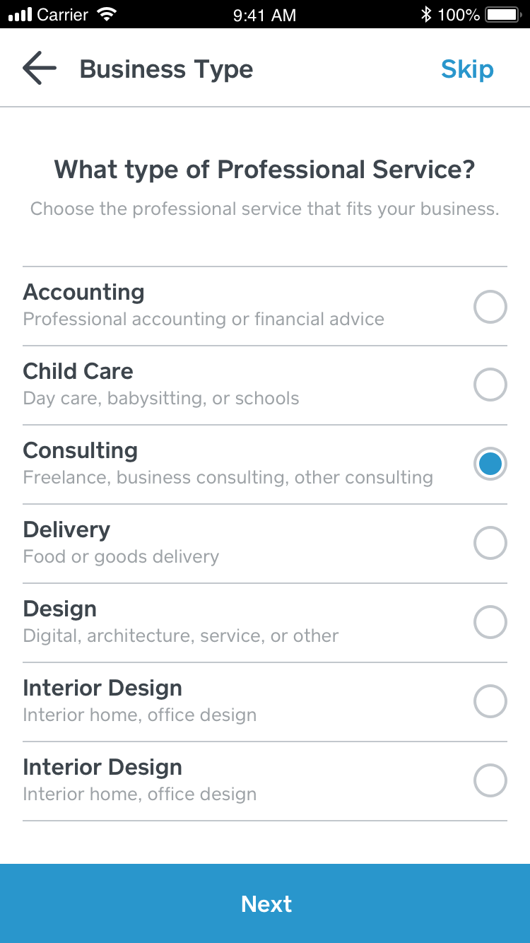Square Onboarding Business Sub Category