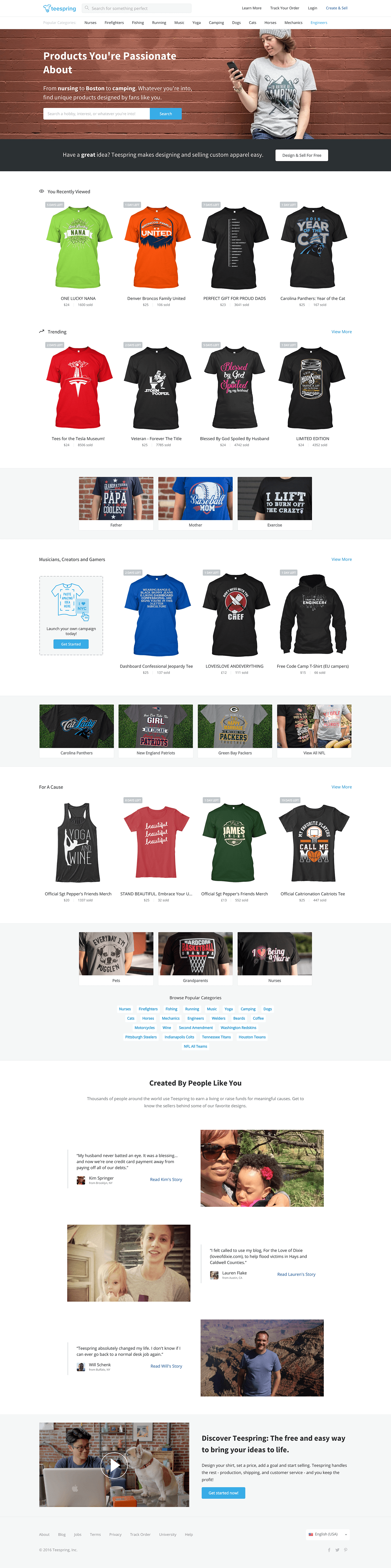 Teespring Homepage Design